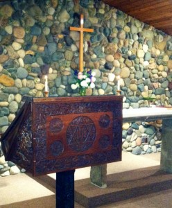 Pulpit with Altar in background